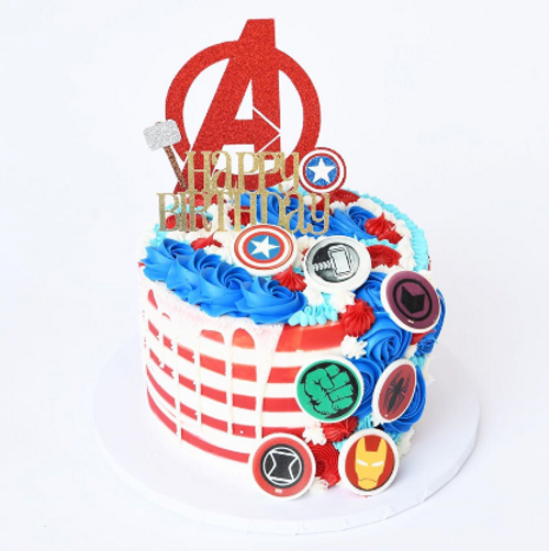 Striped Buttercream Super Hero Logos Drip Cake