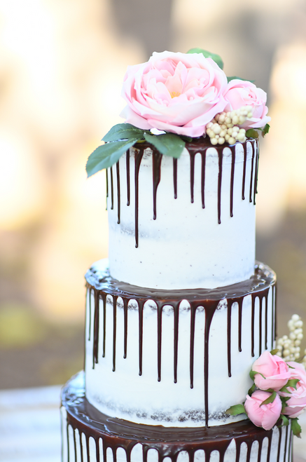 Floral Naked Drip Cake