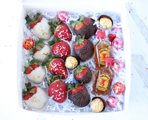 Chocolate Covered Strawberry & Chocolates Gift Box- Fireball