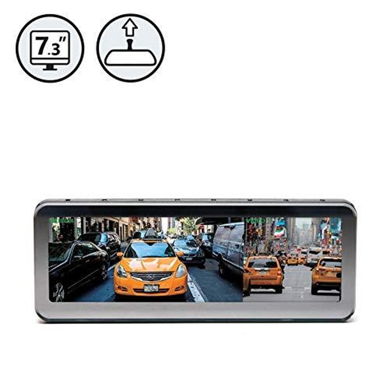 """G-Series Frameless Rear View Replacement Mirror Monitor with 7.2"""" Dual Display"""