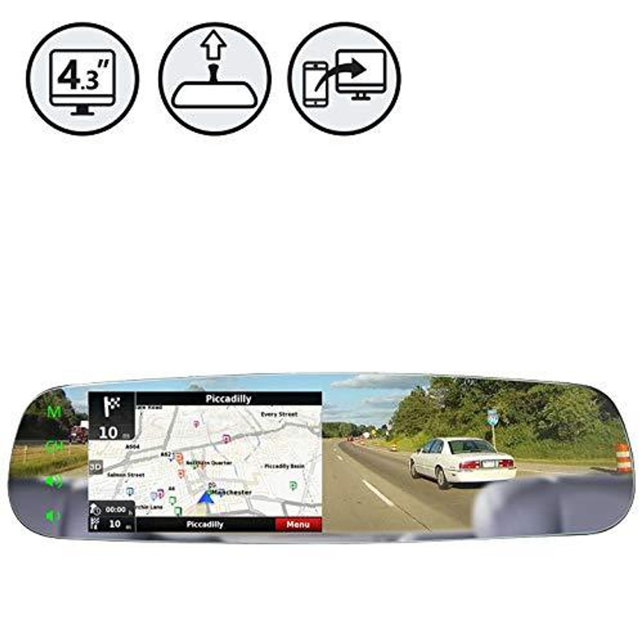 """G-Series Rear View Frameless Mirror Monitor with 4.3"""" Mirrorlink Display"""