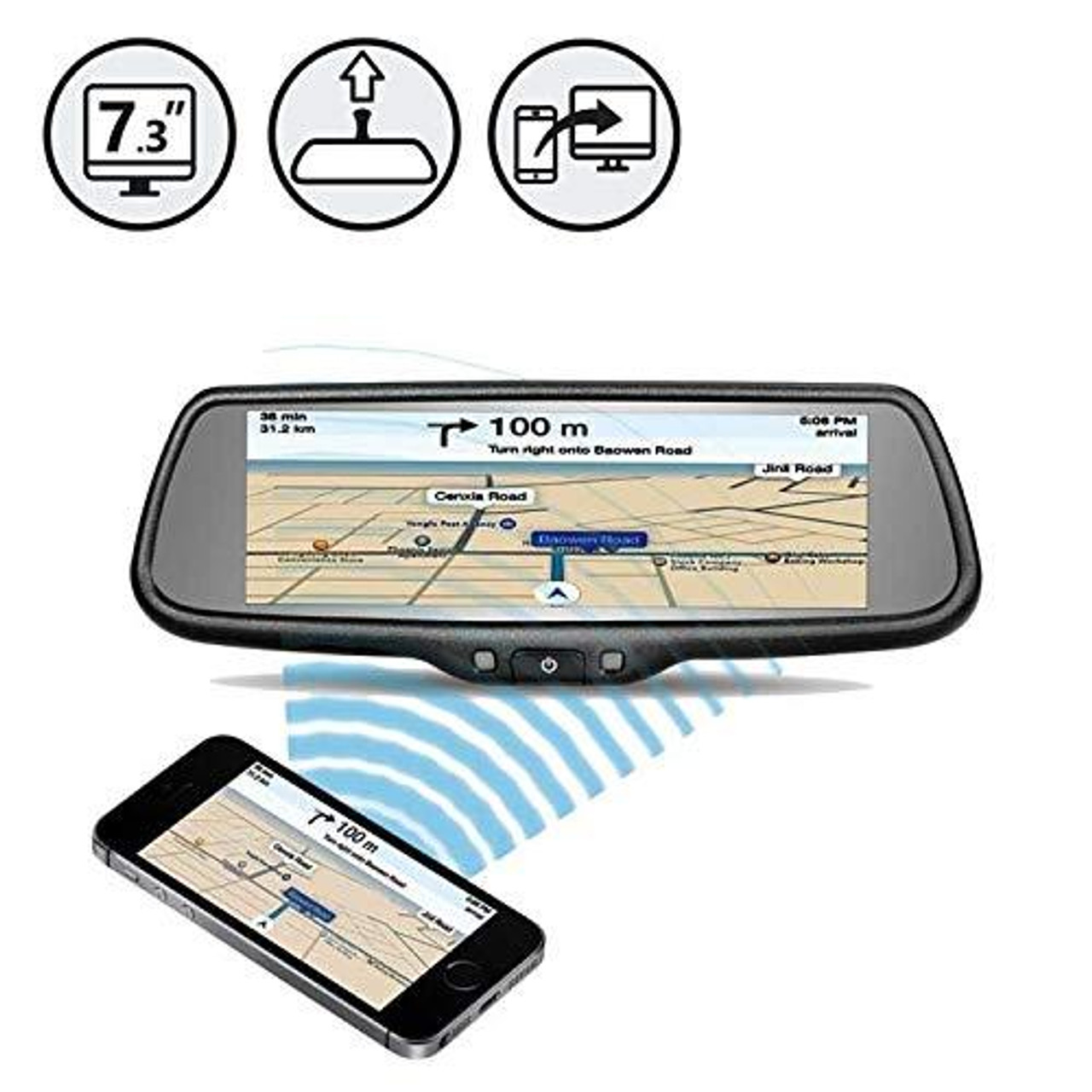 """G-Series Rear View Replacement Mirror Monitor with 7.3"""" Mirrorlink Display"""