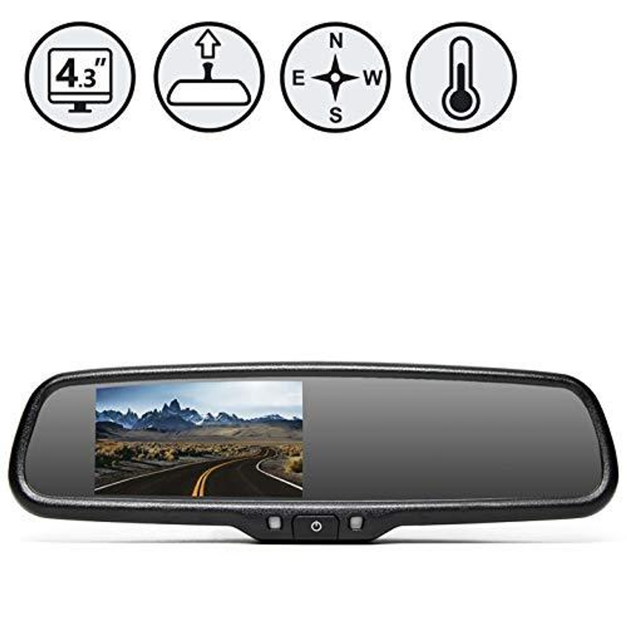 G-Series Rear View Replacement Mirror Monitor with Compass and Temperature