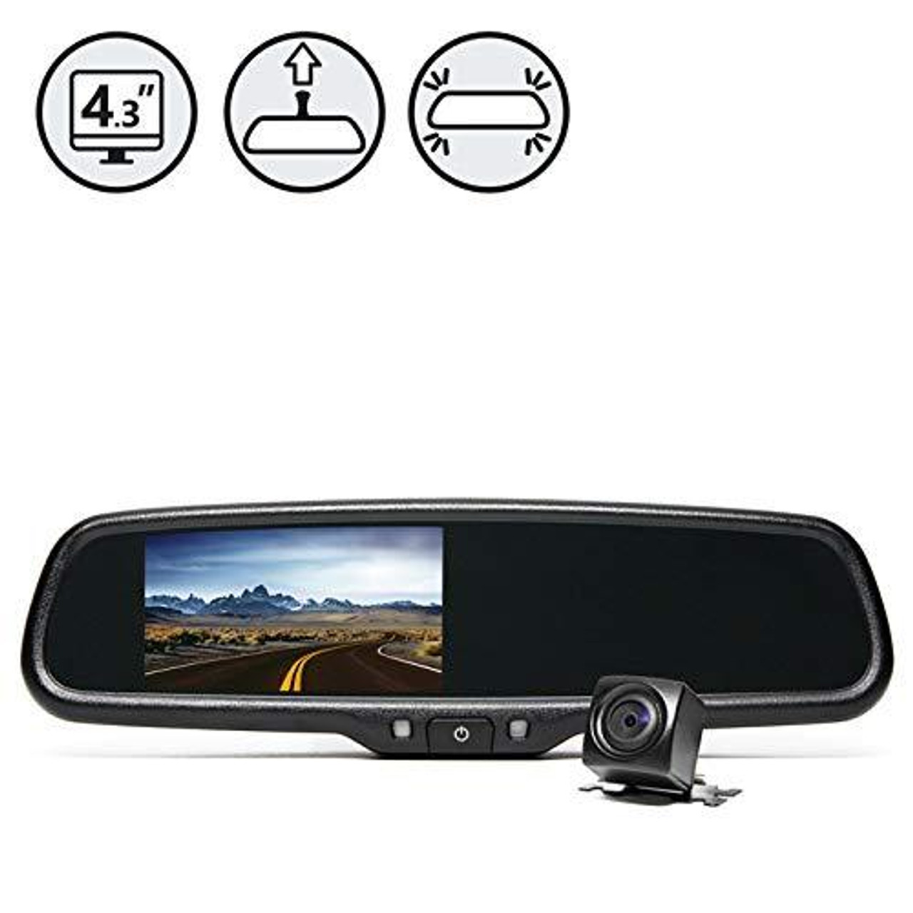 Rear View Safety RVS-770718 Black Rear View Camera System (One (1) Camera Setup with Mirror Display)