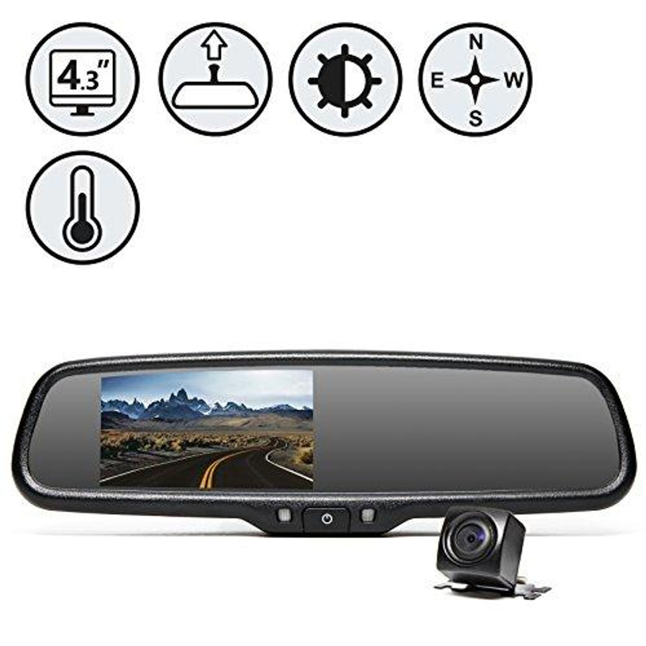 Rear View Safety RVS-776718-DCT OEM G-Series Black Rear View Camera System with Auto Dimming, Compass and Temperature