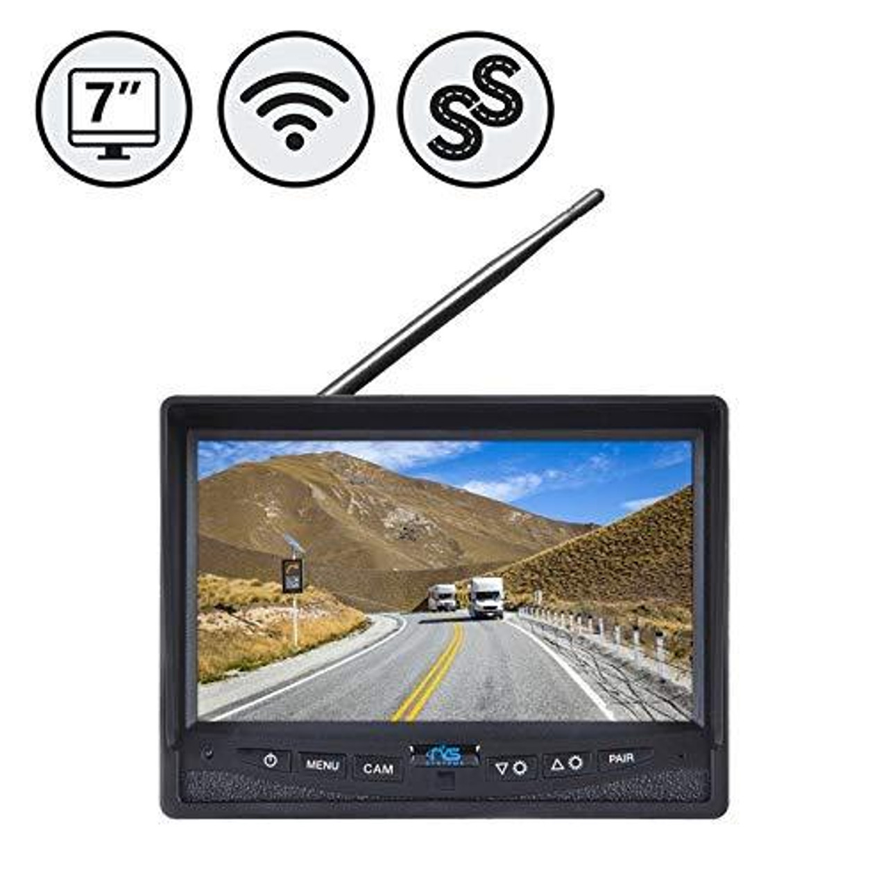 """SimpleSight™ Wireless 7"""" Single Screen Monitor with Wired Side Camera Inputs"""