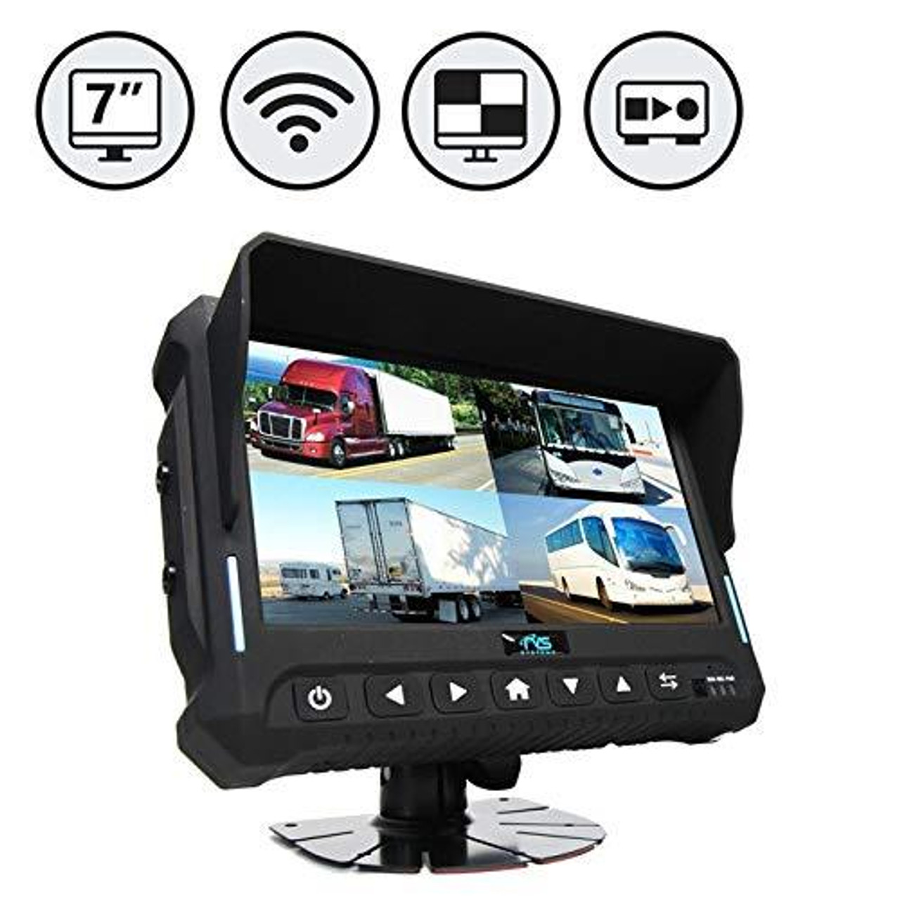 """Wireless 7"""" Quad View Monitor with Built-in DVR"""