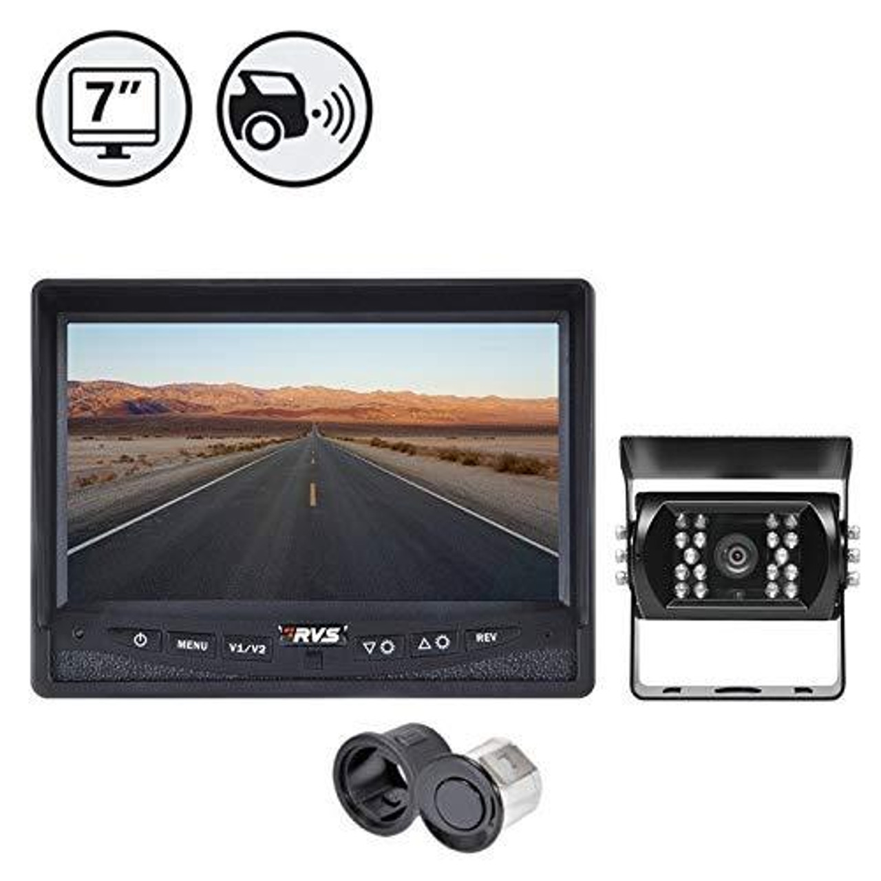 Backup Camera System with Integrated Rear SENSORS (RVS-770613-NM-112)