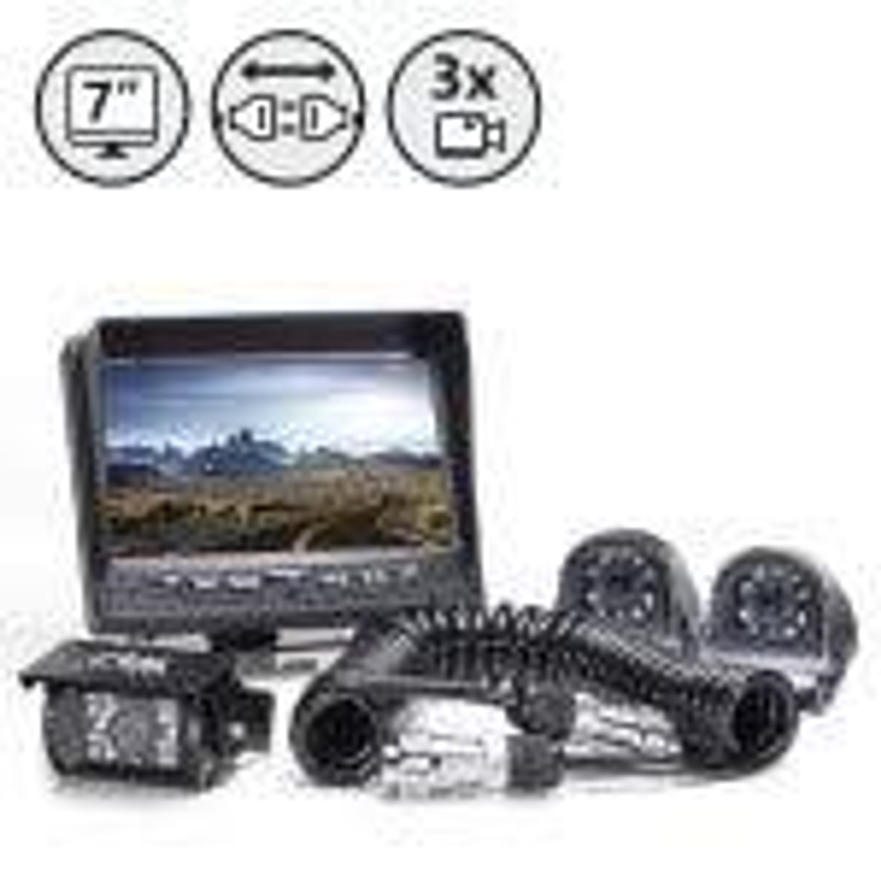 Backup Camera System with Side Cameras and Multi-Camera Quick Connect KIT (RVS-770616-2133-NM)