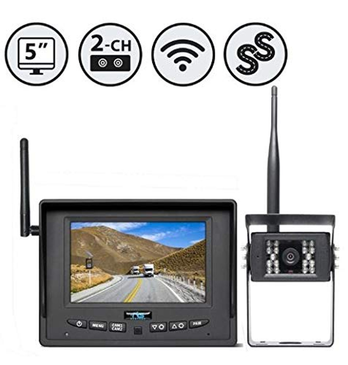 "SIMPLESIGHTTM Wireless Backup Camera System with 5"" Monitor (Dual Channel) (One Backup Camera, Winshield Suction Cup Mount Monitor)"