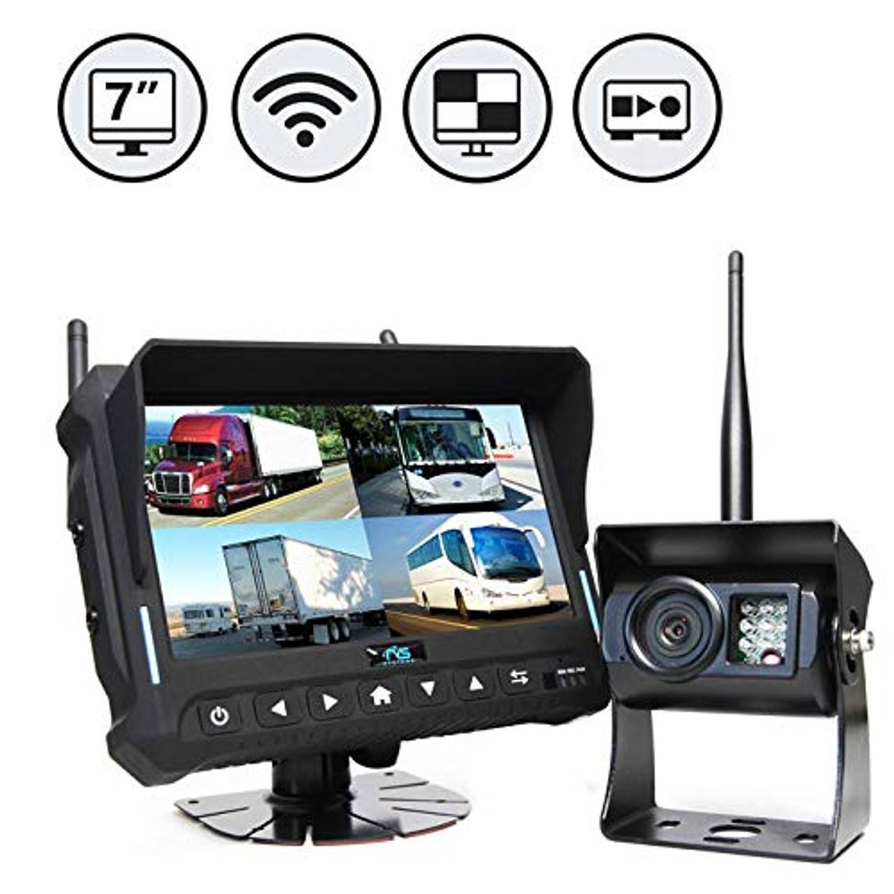 """7"""" QV Monitor w/DVR (Loose Wire), Right Side Camera, Suction Cup 