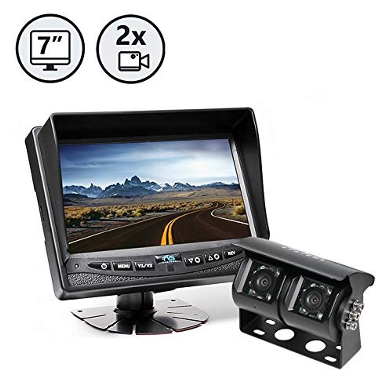 "7"" Display, Dual Lens Backup Camera, 2 x 66' Cables 