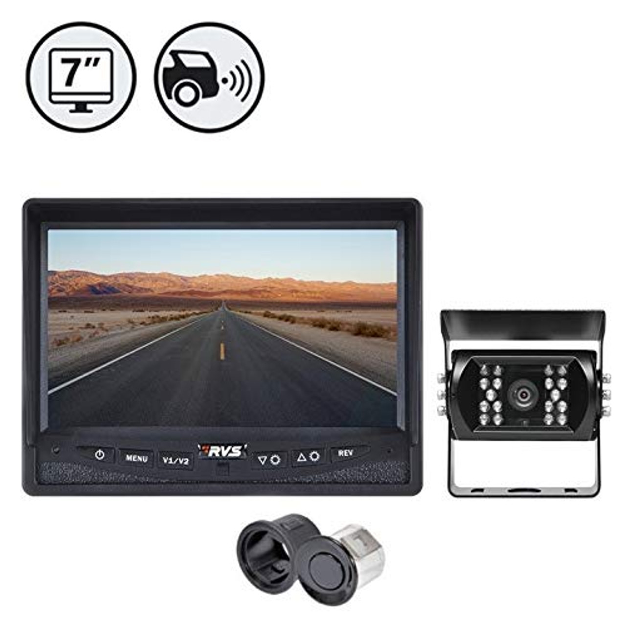 "7"" Display, 1 x Backup Camera, 66' Cable, Backup Sensor Reversing System 
