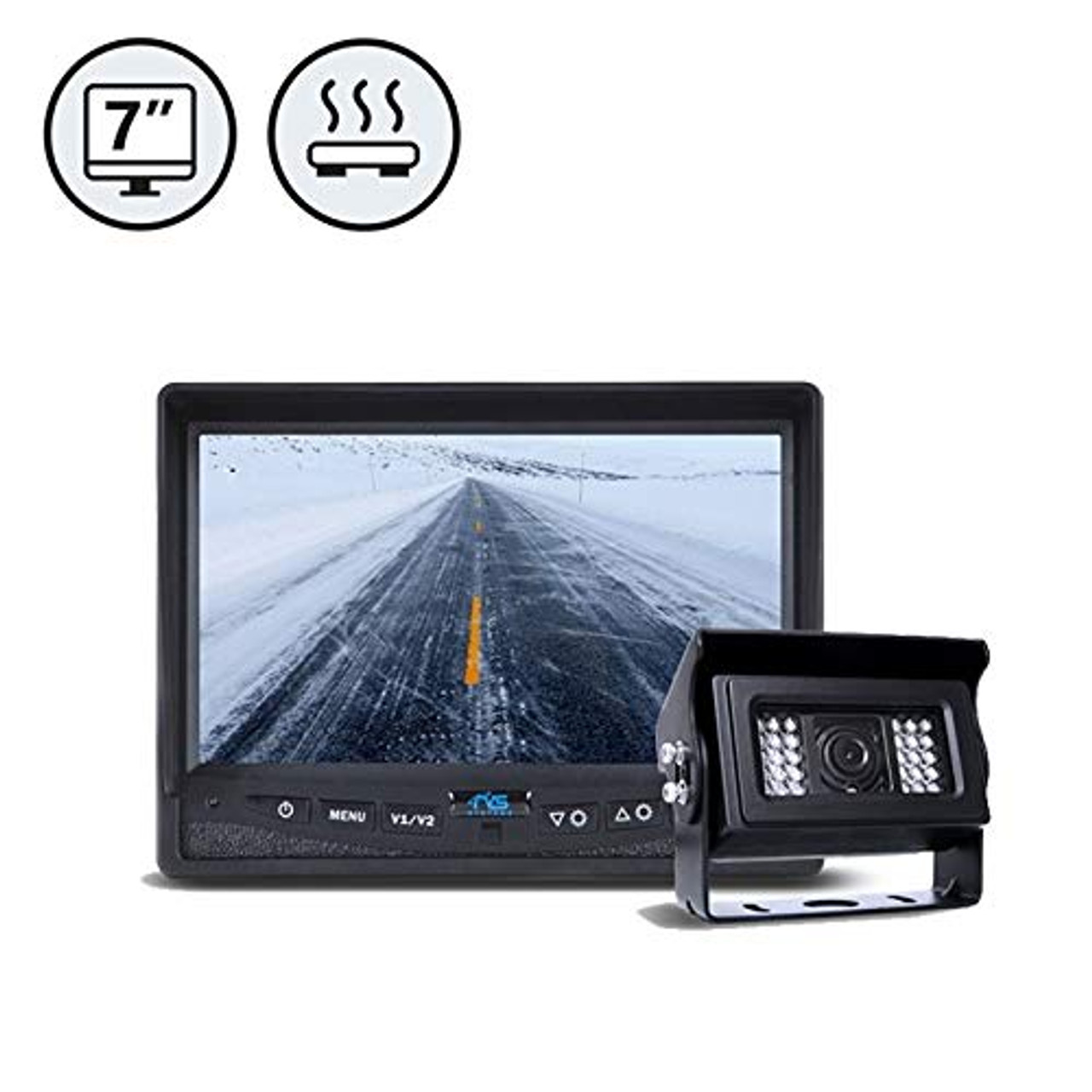 """7"""" Display, 1 x Heated Backup Camera, 1 x 66' Cable 