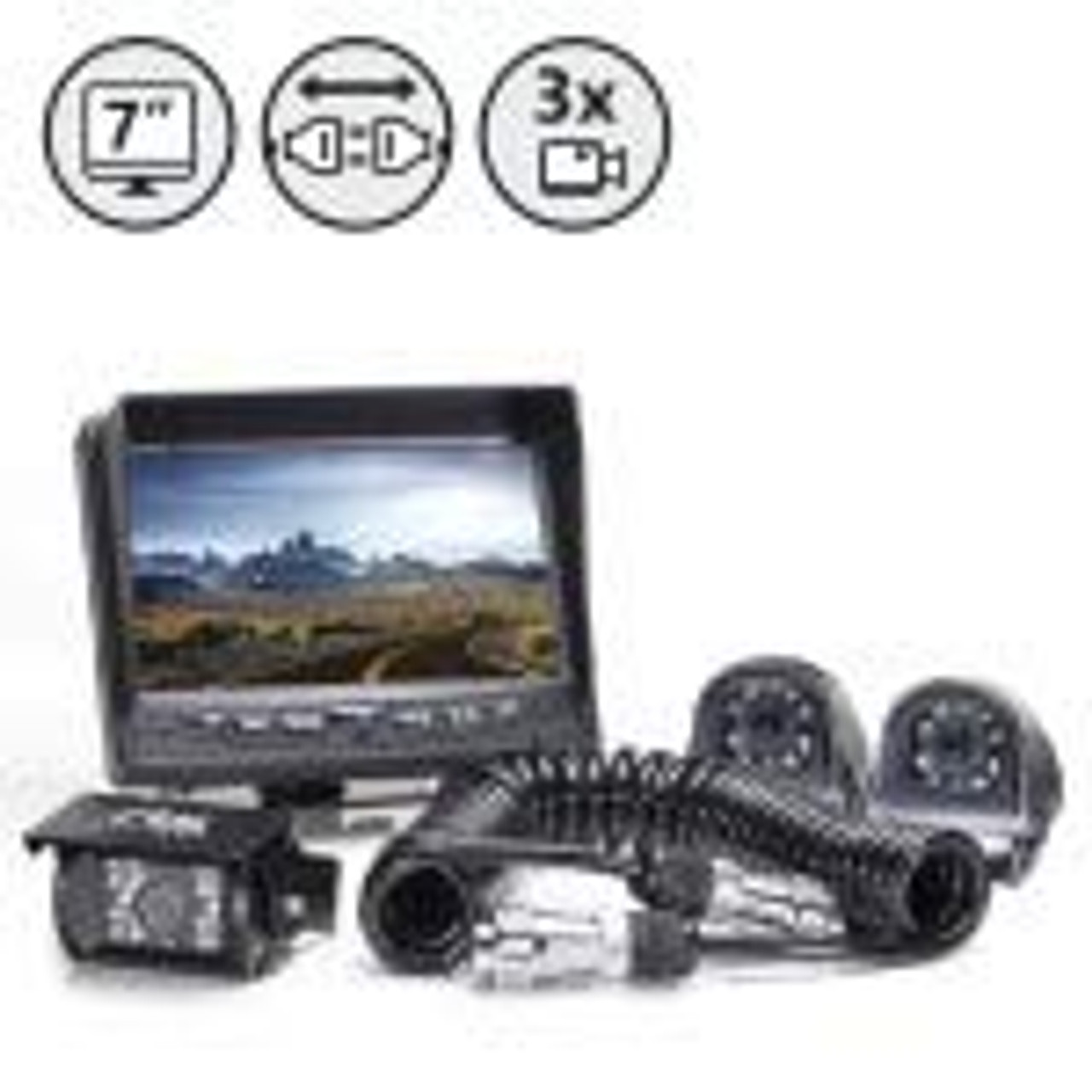 "7"" Display, Backup Camera, Both Side Cameras, Trailer Tow Quick Connect/Disconnect Kit for Multiple Cameras, 66' Cable, 2 x 33' Cables 