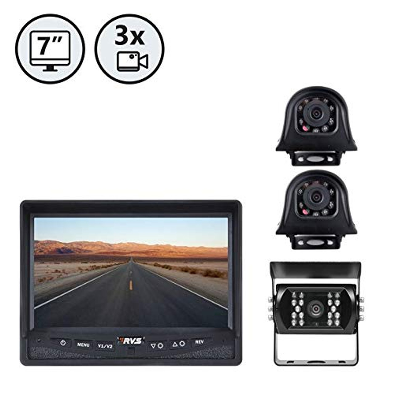 "7"" Display, Backup Camera, Both Side Cameras, 66' Cable, 2 x 33' Cable 