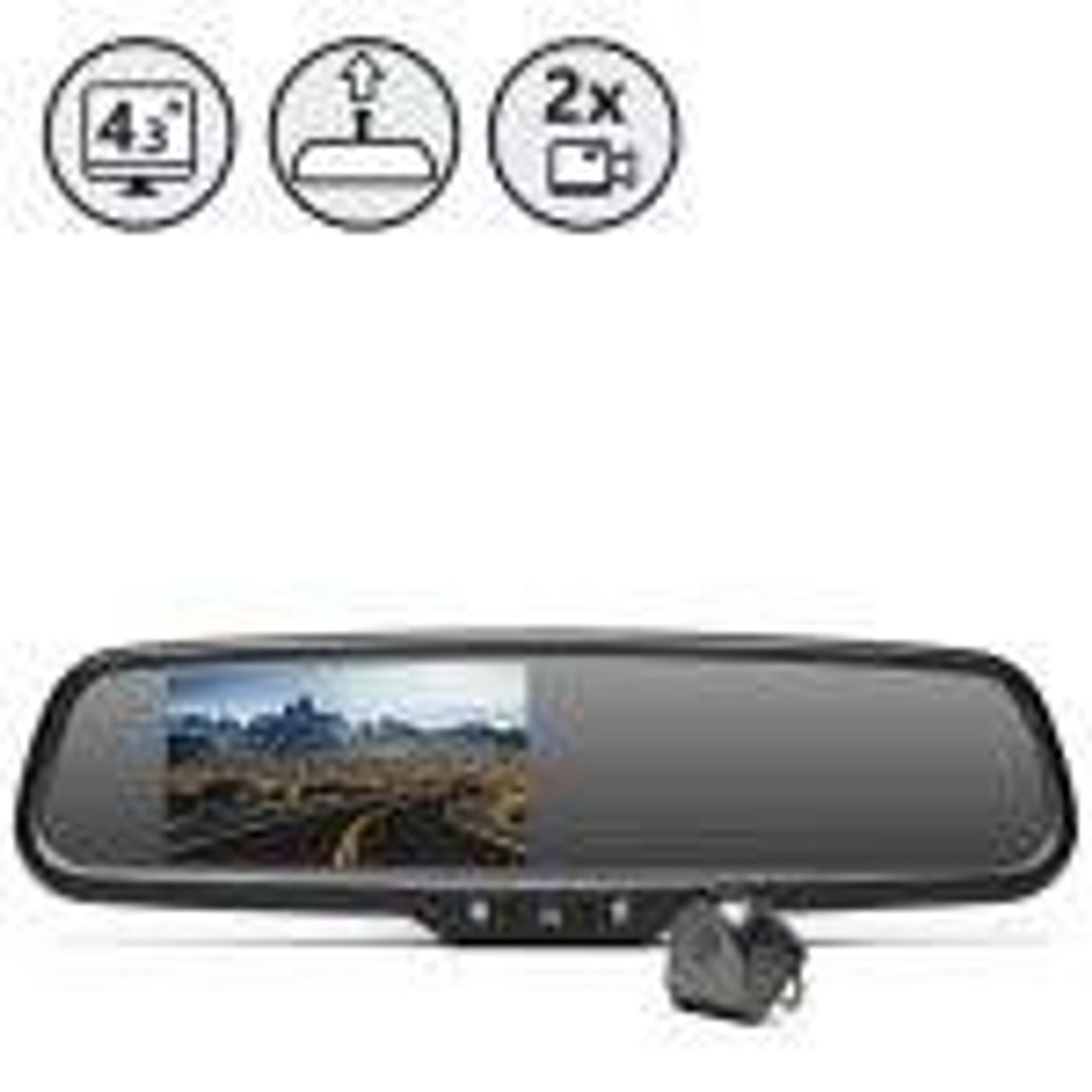 (Silverado 1500) Mirror Monitor with Hidden Dash Camera, Tailgate Camera, 33ft Cable