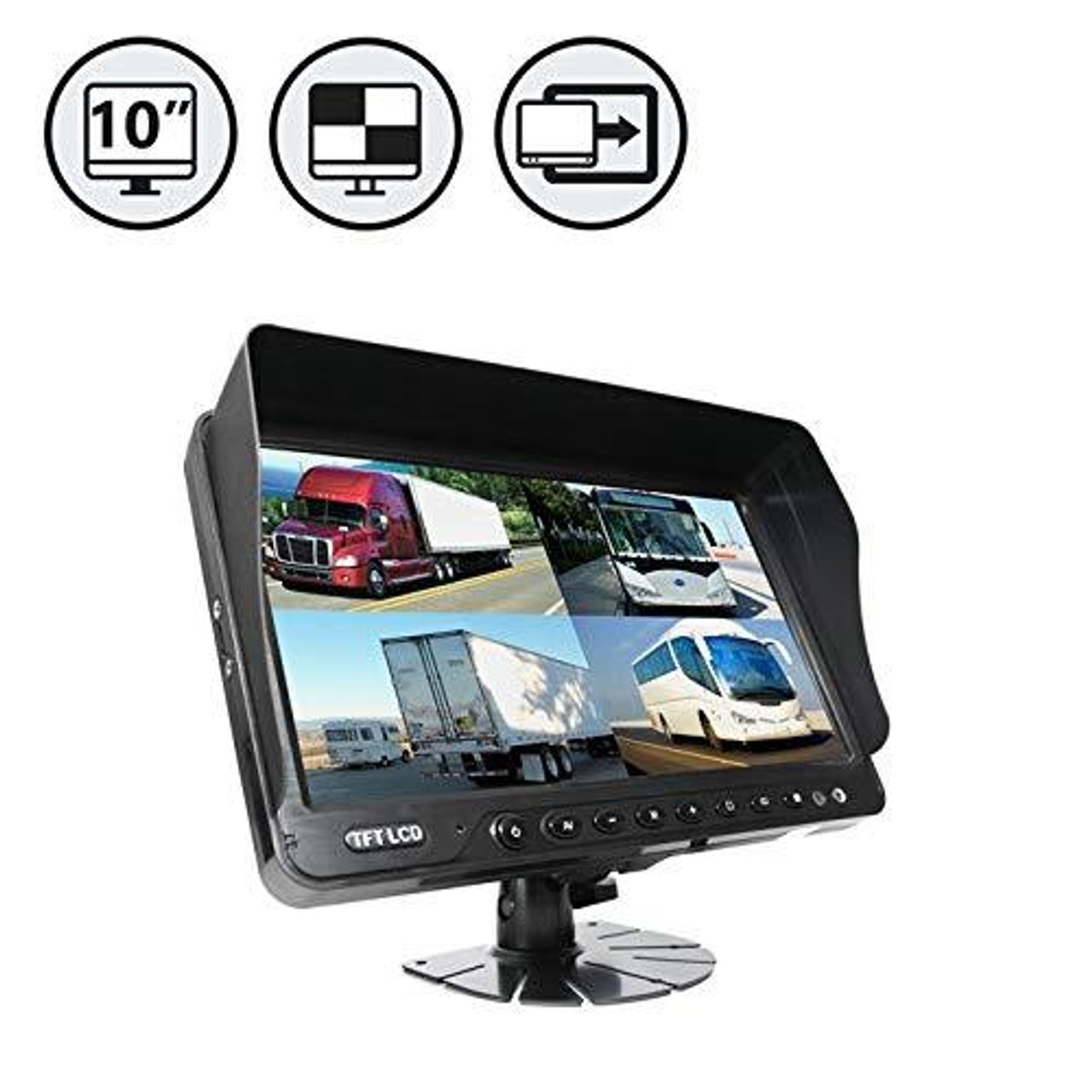 "10"" TFT LCD Digital Quad View Color Monitor with Sunshade and Flushmount"
