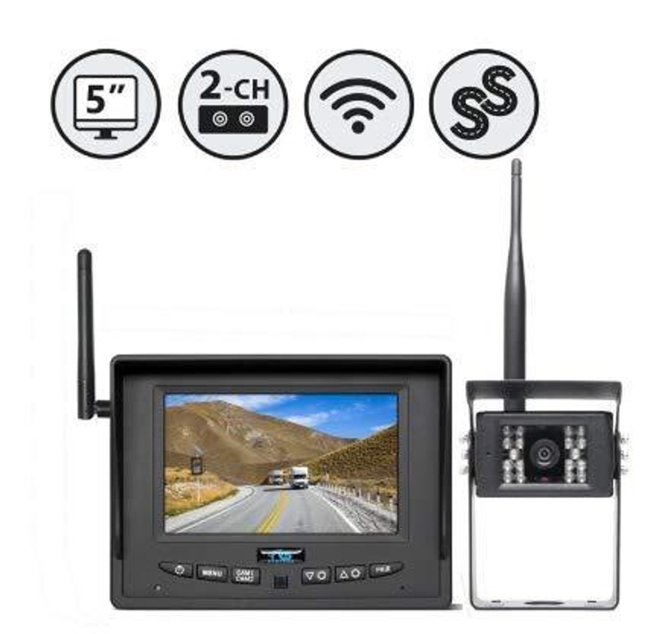 "5"" Wireless Display (2 Ch.), 1 x Wireless Backup Camera, Adhesive Mount"