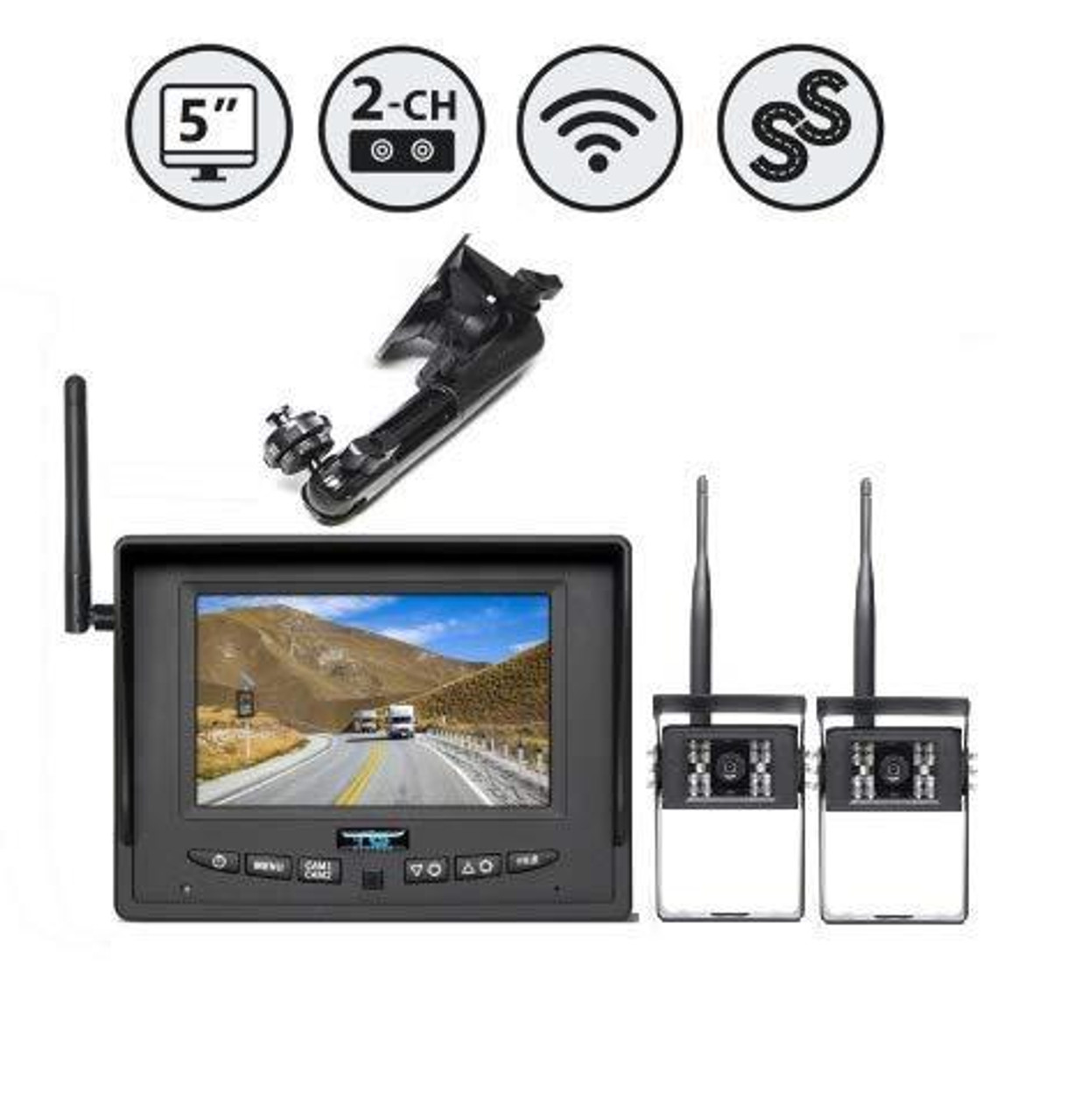 """5"""" Wireless Display (2 Ch.), 2 x Wireless Backup Camera, Suction Cup Mount"""