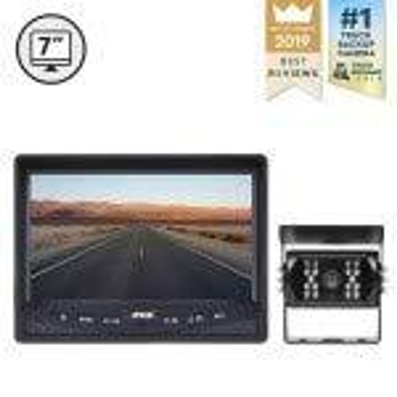 "7"" Display, 1 x Backup Camera, 33' Cable"
