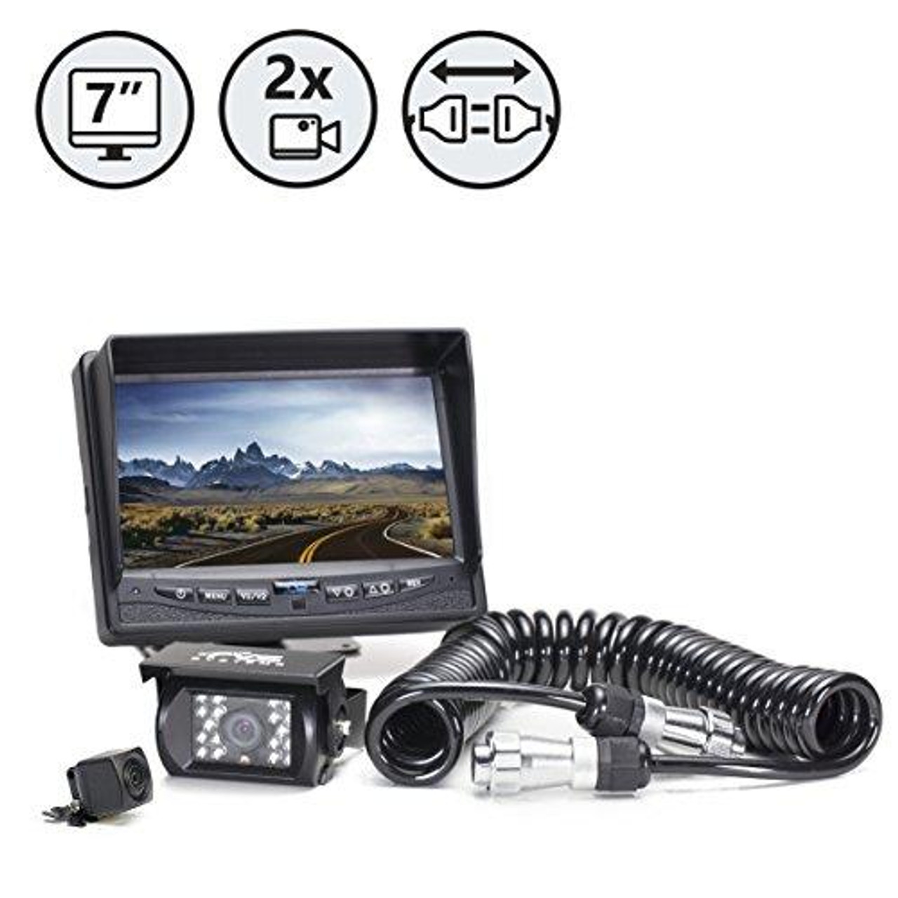 "7"" Display, Backup Camera, Surface Mount Backup Camera, Power Harness, Quick Connect/Disconnect Kit, 33ft Cable"