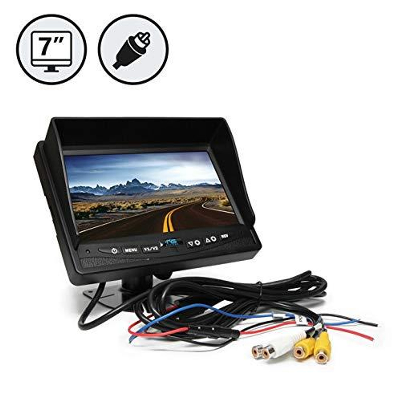 "7"" LED Digital Color Rear View Monitor with RCA Connections"