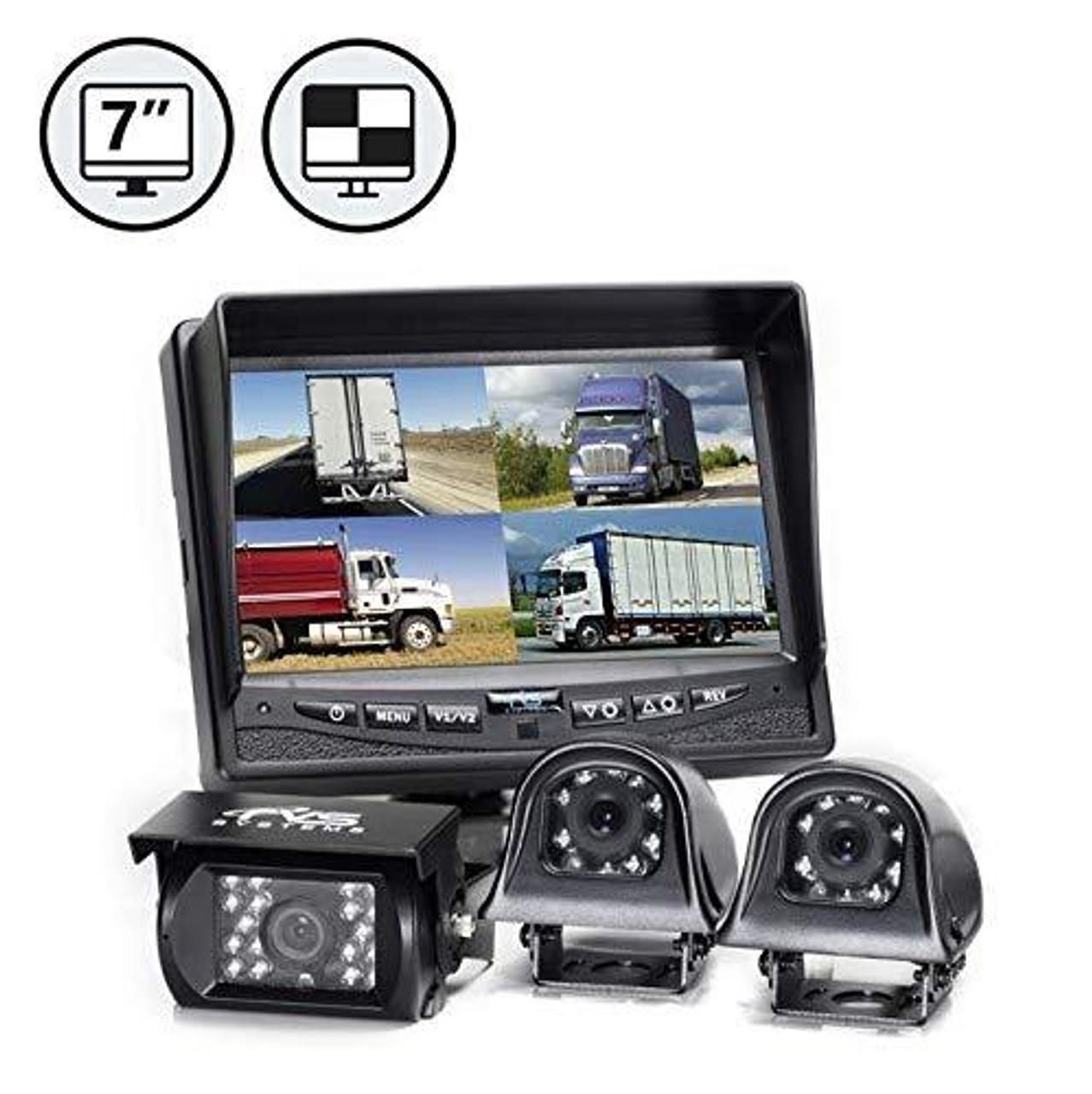 "7"" QV Display, 1 x Backup Camera, Both Side Cameras, 1 x 66' Cable, 2 x 33' Cables"