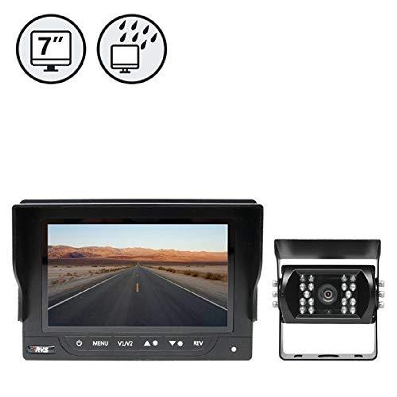 "7"" Waterproof Monitor, Backup Camera, 66ft Cable"