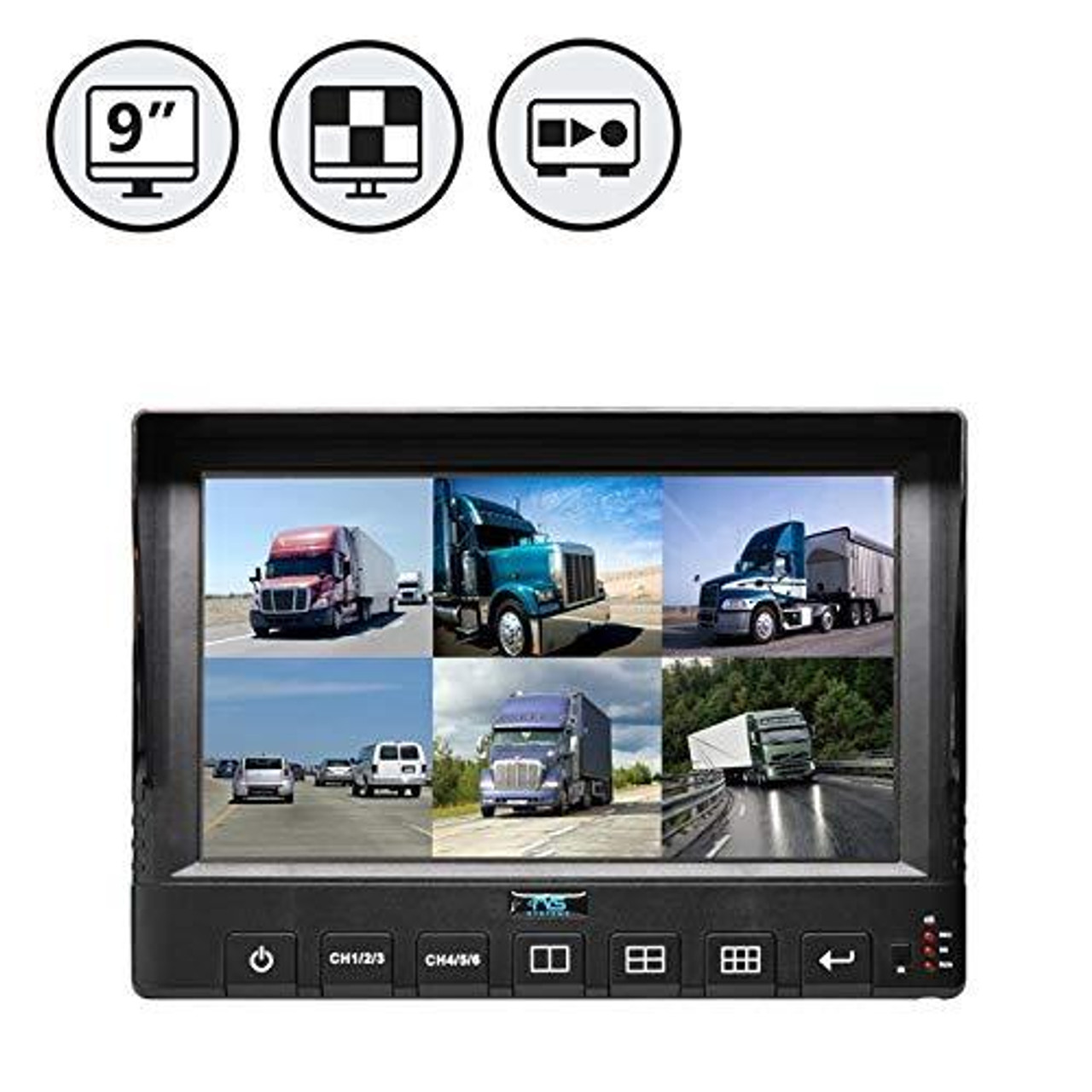 """9"""" LED 6 Channel Split Screen Monitor with Built-in DVR"""