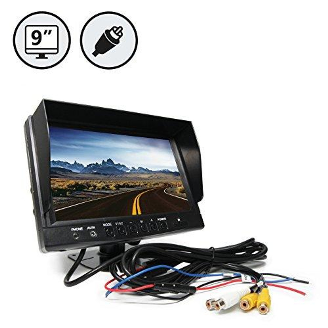 "9"" LED Digital Color Rear View Monitor with RCA Connections"