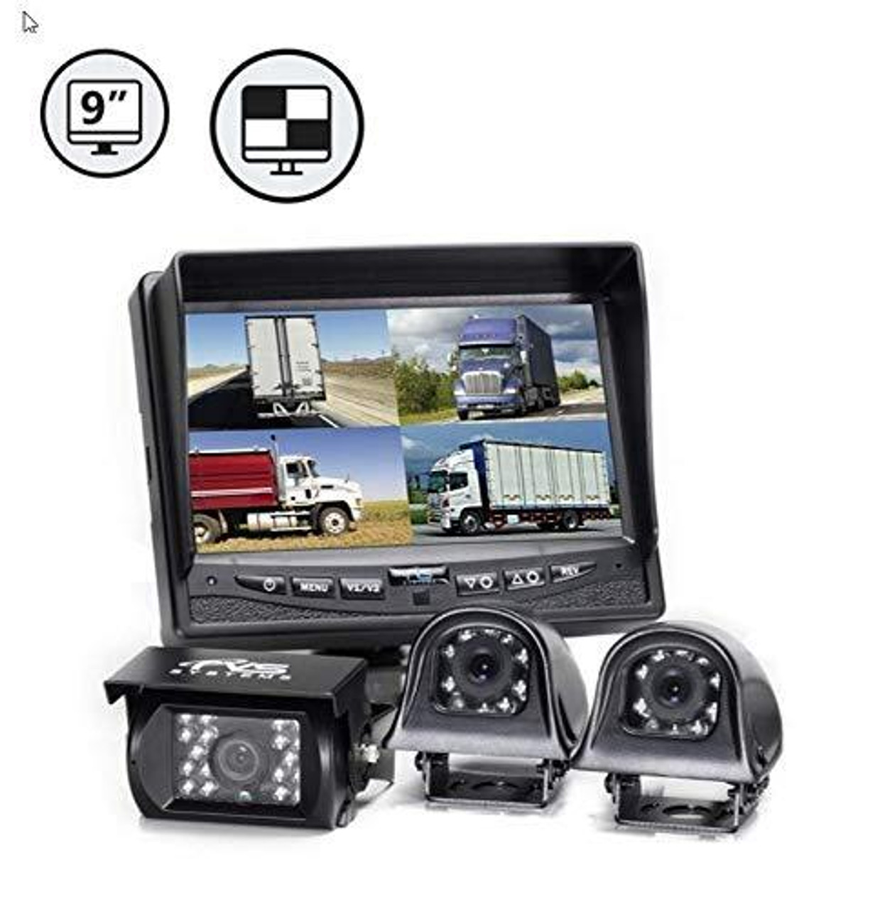 """9"""" QV Display, 1 x Backup Camera, Both Side Cameras, 1 x 33' Cable, 2 x 16' Cables"""