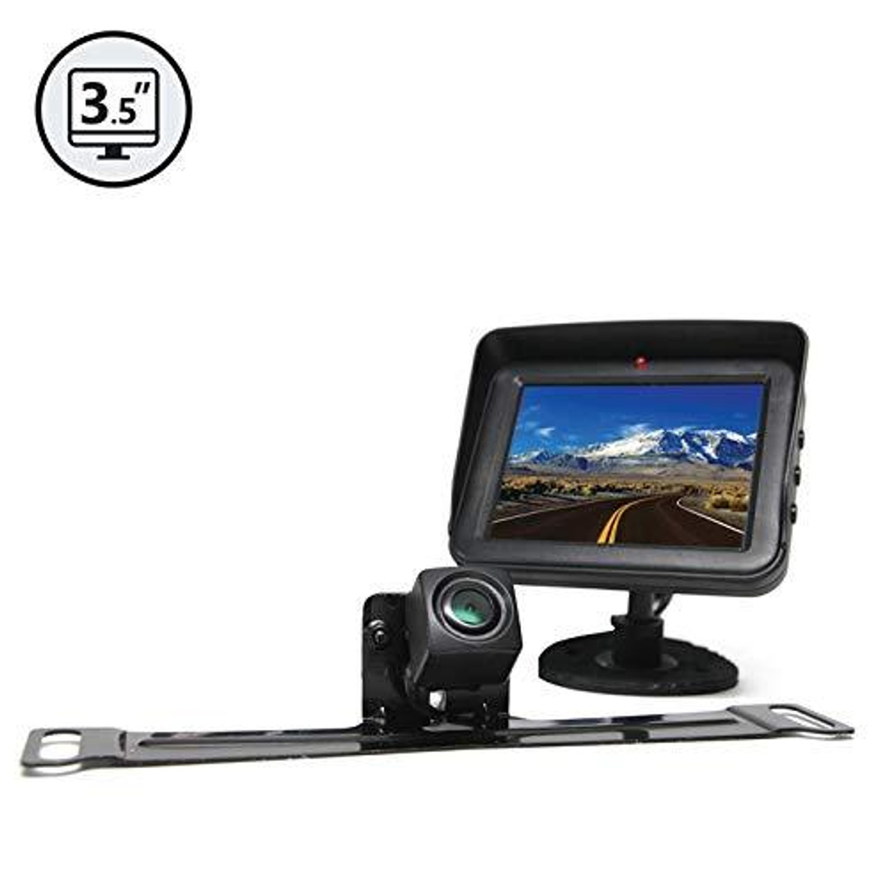 "Backup Camera System with License Plate Camera and 3.5"" Display"