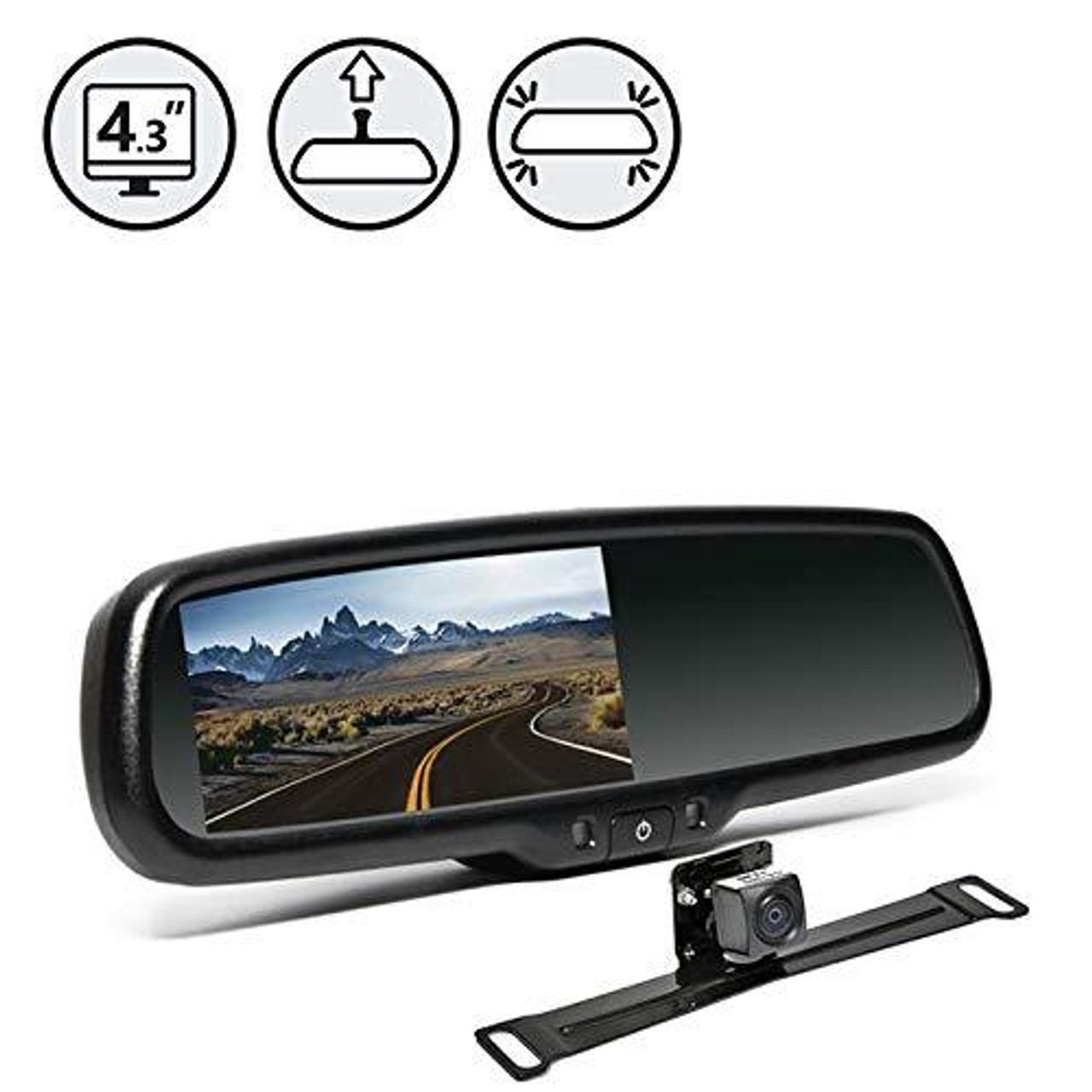 Backup Camera System with Replacement Mirror Display, 33' Cable