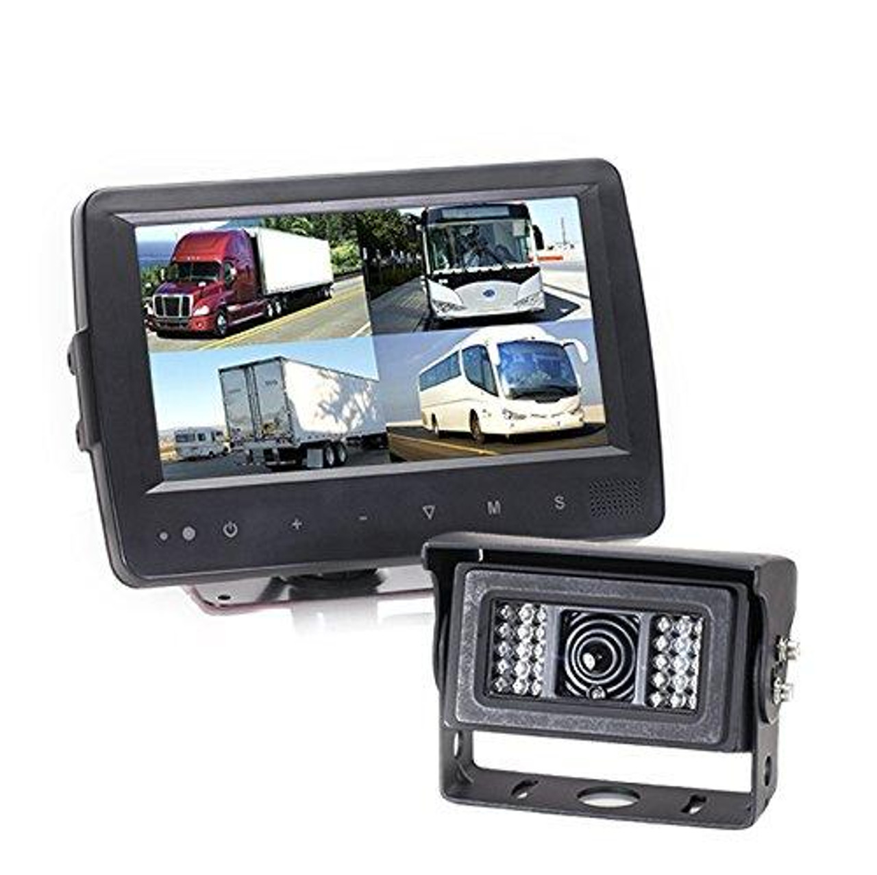 Backup Camera System with Waterproof Quad View Monitor and Heated Camera, 66' Cable