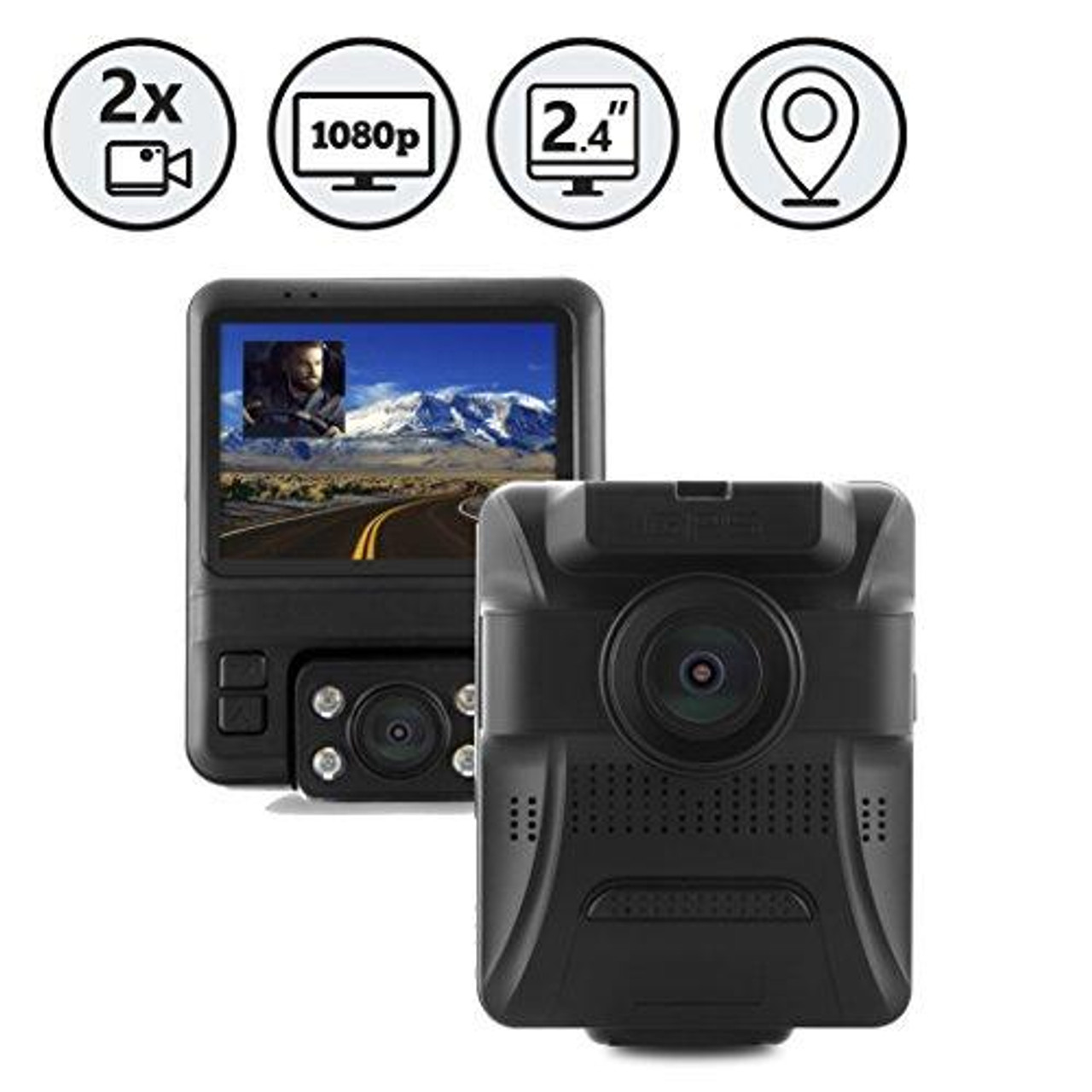 """Dual Lens Full HD Dash Camera with GPS and 2.4"""" Display by Rear View Safety"""