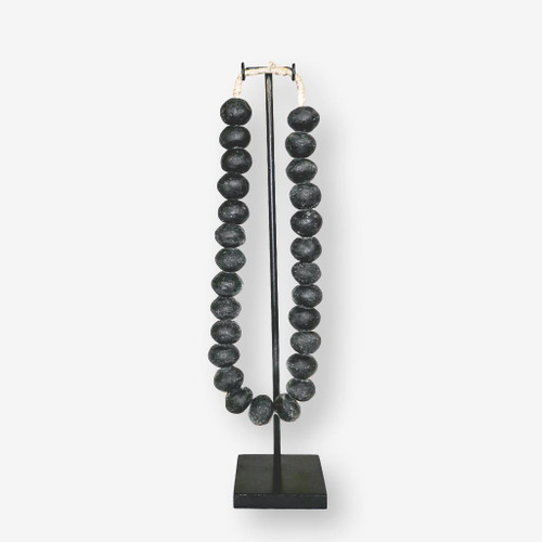 Recycled Black Large Glass Beads on Display Stand, Ghana