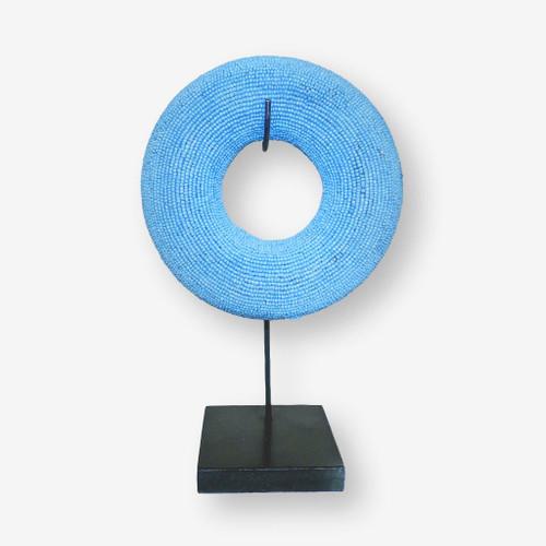 Tikar Clay Beaded Bangle Light Blue, Cameroon