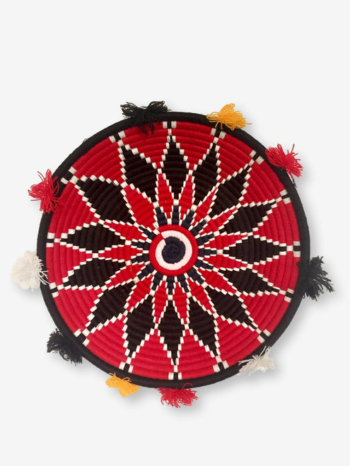 Berber Basket Plate Red/Black, Morocco