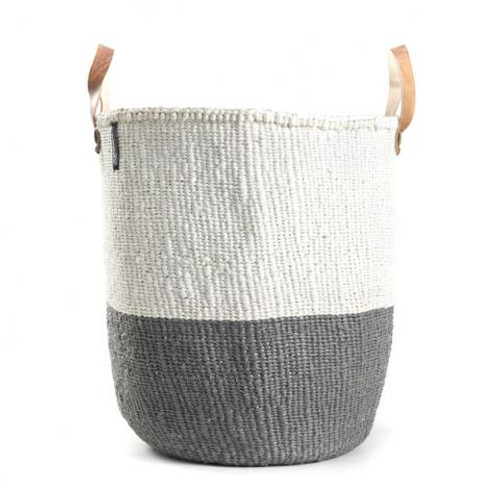 Mifuko Kiondo Basket Bag White/Grey Leather Handles Medium, Kenya