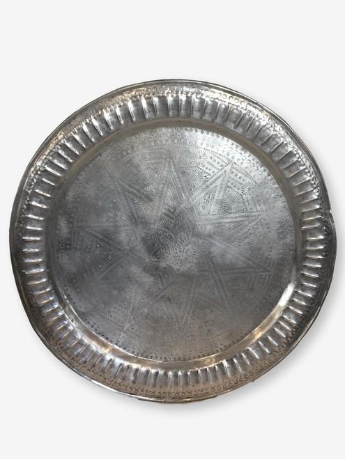 "Vintage Metal Tray 30"", Morocco"