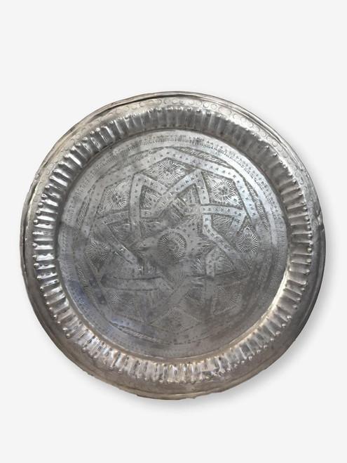"Vintage Metal Tray 30"" , Morocco"