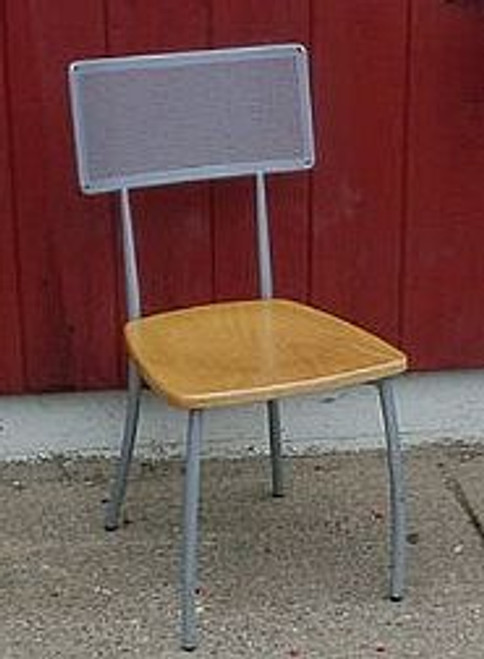 CONTEMPORARY METAL FRAME CHAIR W/ WOOD SEAT