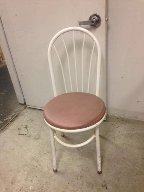 WHITE FRAME PINK SEAT FAN BACK CHAIR