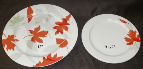 LARGE 12'' and 9 1/2'' ROUND - LEAF PATTERN