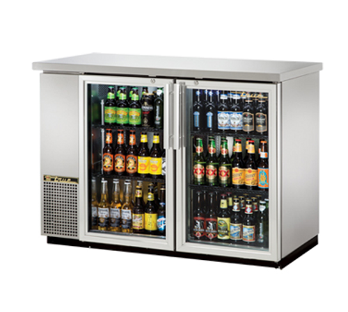 "New-True Back Bar Cooler, two-section, 24"" deep, 35-7/8"" high, (48) 6-packs or (2) 1/2 keg capacity, (4) wire shelves, condensing unit on left, stainless steel top, galvanized interior with stainless steel floor, stainless steel exterior, (2) glass doors, LED interior light, 1/3 HP, 115v/60/1, 7.6 amps, 7' cord, NEMA 5-15P, MADE IN USA, 3 years parts and labor, 5 years compressor warranty"
