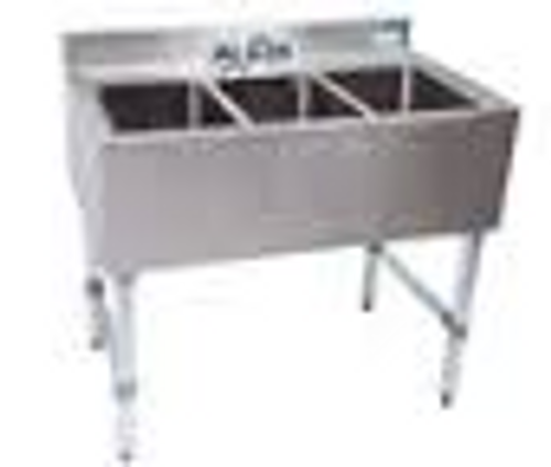 "NEW - Underbar Sink, three compartment, 36ƒ?W x 21-1/4""D x 32-1/2""H, 18/304 stainless steel construction, 10"" wide x 14"" front-to-back x 10"" deep compartments, 4-1/2""H backsplash, 4"" O.C. deck mount lead-free faucet (BKD-10-G), stainless steel apron on front & sides, includes basket drains (BKDR-2) & removable overflow standpipes (BK-OT-15075), galvanized steel legs & adjustable side bracing, adjustable high-impact corrosion-resistant feet, NSF"