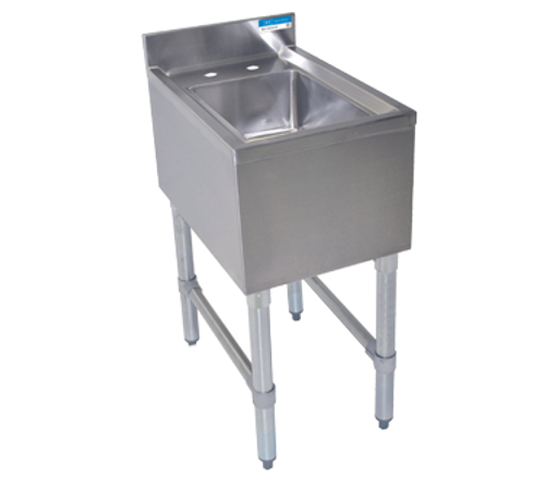"NEW - Underbar Hand Sink, 14-1/2""W x 21-1/4""D x 32-1/2""H, 18 gauge stainless steel, 10"" wide x 14"" front-to-back x 6"" deep bowl, 4""H backsplash, 4"" O.C. deck mount lead-free faucet (BKD-6-G), galvanized gussets & legs with plastic adjustable feet, NSF"
