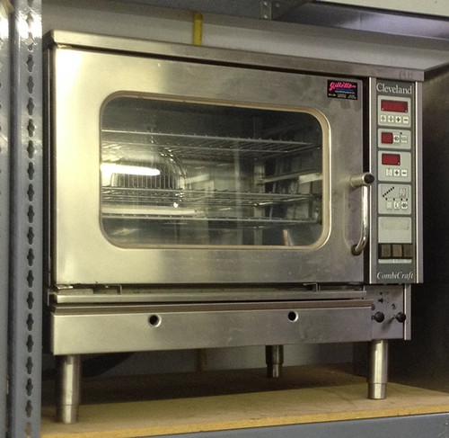 "Used-Cleveland Mini Combi-Oven Steamer, electric, boilerless, (3) 12"" x 20"" full size hotel pans, (3) 13"" x 18"" half size sheet sheet pans or (3) 12"" x 20"" wire fry basket capacity, standard digital controls, for temperature, time and core probe, cooking modes for hot air, steam, combi, retherm, cook & hold,4"" adjustable legs with flanged legs, 33""W x 30""H x 29""D, 208 volt, 3 phase, cULus, UL-Sanitation"
