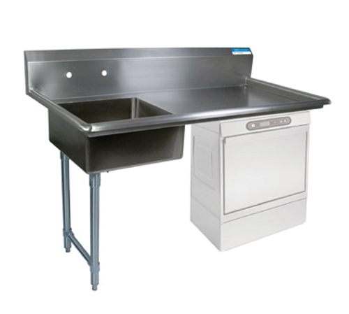 """NEW-Soiled Dishtable, undercounter, 50""""W x 30""""D x 46""""H, comes in left or right operation, 18/304 stainless steel top, 10""""H backsplash, 20"""" x 20"""" x 8"""" deep pre-rinse sink on left, 8"""" O.C. splash mount faucet holes, raised rolled edges on front & sides, 3-1/2"""" basket drain included, galvanized steel legs & side bracing, adjustable high-impact corrosion-resistant feet, NSF"""
